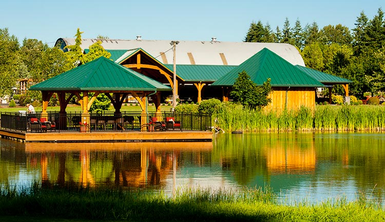 Outdoor pavilion over the lake at Bethany Vineyard