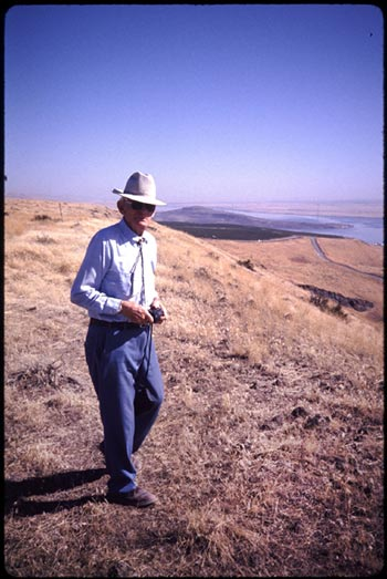 Walter Clore scouting a vineyard site in his later years (photo courtesy of Ron Irvine)