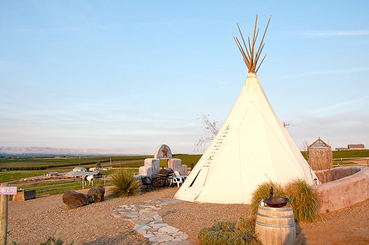The Lone Star teepee at Cherry Wood B&B offers vineyard and orchard vistas across the Yakima Valley
