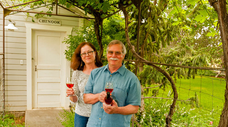 Husband and wife team Clay Mackey and Kay Simon of Chinook Wines. Richard Duval photo.