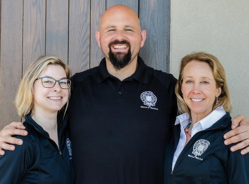 Enology instructor Sabrina Lueck, director Tim Donahue and program coordinator Danielle Swan-Froese