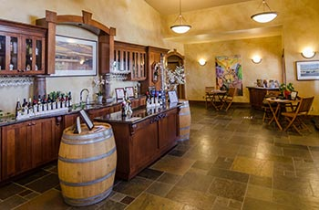 Stylish interior of the tasting room at College Cellars, open to the public every Friday and Saturday