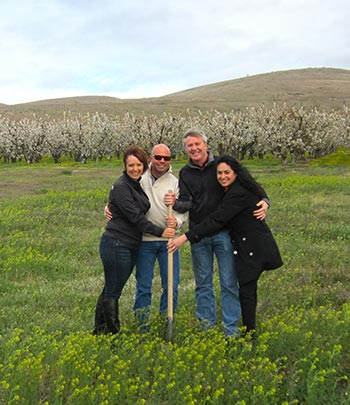 Julie and Ben Wolff breaking ground at Union Gap Vineyard with business partners David and Angelica O'Reilly.