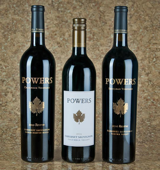 Powers 2010 Reserve Champoux Vineyard Cabernet Sauvignon Powers has been working with fruit from this intense and expressive Horse Heaven Hills vineyard since 1992. Aged 33 months in French oak barrels, this Cab exudes power, grace and balance. Nose: Brambly red berries and dark fruit aromas, with lovely shadings of cedar, cocoa powder and fennel. Taste: Elegant and finely balanced, with disarming power behind a swath of velvet tannins and rich core of dark fruit—black cherry, dark plum and black raspberry—nuanced with bittersweet dark chocolate and loamy earth on the long finish. 823 cases. $35 Powers 2013 Columbia Valley Cabernet Sauvignon A best-buy blend of no less than eight different Columbia Valley vineyards. This easy going Cab (88%) is rounded out with Merlot, Cabernet Franc, Syrah and Malbec. Nose: Aromas of blackberry, boysenberry, black plum, currant, mulberry leaf and a dash of white pepper. Taste: Smooth and round, with jammy flavors of blackberry, blueberry and molasses shaded with black tea, herbal red pepper and a dash of clove and tobacco spice on the finish. 6,250 cases. $15 Powers 2010 Reserve Sheridan Vineyard Cabernet Sauvignon Aged 32 months in French oak barrels, this Cab displays a stellar balance of acidity and fruit. It's the third release from this well-respected Yakima Valley vineyard site. Nose: Lush aromatics of blue and red fruit, malted milk chocolate, graphite and anise-lemon chervil herb. Taste: Vibrant, expressive and muscular, with red currants, red cherry, black raspberry, mint, tea leaf and savory dried herb sachet. Thick chalky tannins persist endlessly on the finish. 515 cases. $30